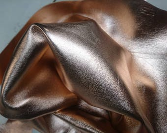 Rose gold soft metalic Italian leather hide