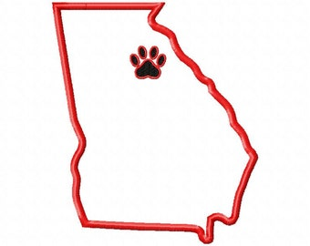State of Georgia applique with paw print embroidery design- 5x7 hoop size