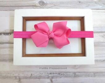 Baby headband, baby head band bow, toddler headband, newborn headband, girl head band, pink baby hair bow, infant headband