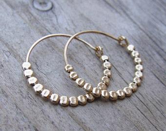 Simple Gold Hoops, Small Gold Hoop Earring, Hammered Gold Hoop Earrings, Gold Hoop Earrings, Thin Gold Hoop Earrings