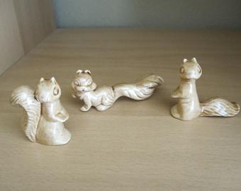 Ceramic Miniature Squirrels Handmade
