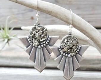 Boho Chic Jewelry, Tribal Earrings, Silver Pyrite Earrings, Sparkly Earrings, Druzy Style Dangle Earrings