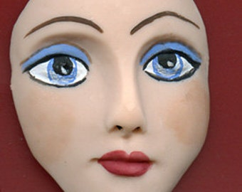 """Polymer Clay  Detailed  2 """" Art Doll Face Cab with Blue Eyes BLF 1"""
