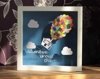 Adventure is Out There, framed papercut, inspirational quote, paper art, wall art,
