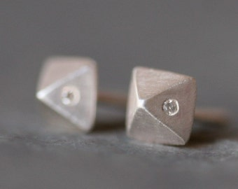 Low Pyramid Stud Earrings in Sterling Silver with 2 Diamonds