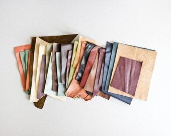 Scrap Leather Pieces - Mixed Colours - BUMPER Scrap bag - 460 grams - 1 lb - 16 oz - remnants - off cuts - rainbow - brown - tan
