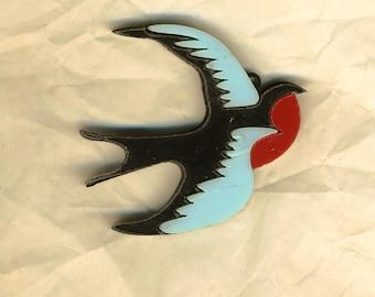 Swallow bird in flight, pendant, Blue Bird jewelry supply