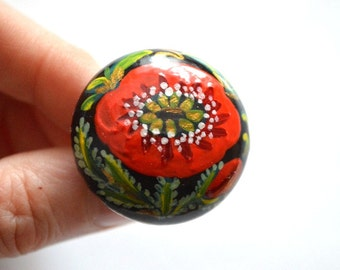 handmade ring of wood Ring hand painted ring mom gift ideas for her gift ideas for women flower ring red ring red poppy paint ring folk ring