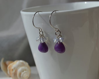 Purple Candy Jade and  Moonstone Cluster Earrings Handmade Wire Wrapped