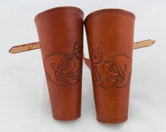 Brown leather bracers embossed celtic cat armor cuff armour game of thrones viking costume ren faire larp sca amazon armor warrior woman lrp