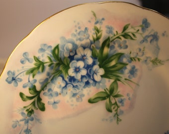 Handpainted plate,blue flowers,Alaska plate,state plate,gift,plate collector