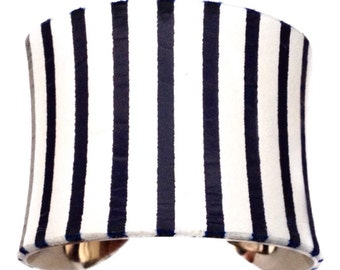 Navy Blue Leather Nautical Stripe Cuff Bracelet (Vertical) - by UNEARTHED