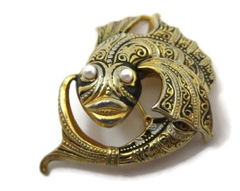 Fish Brooch - Damascene Style Enamel Costume Jewelry, Toledo, Figural Animal, Pearl Eyes