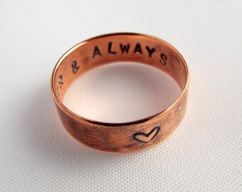 Commitment Ring - Copper Wedding Band -Heart Ring - Heart Ring Personalized - Affordable Wedding Band - Custom Stamped Ring - Stamped Rings