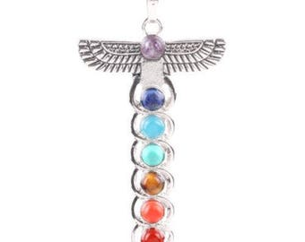 Pendant totem in silver plated - 7 chakras