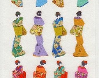 Japanese Kimono Stickers - Traditional Paper Stickers - Reference U5759-60