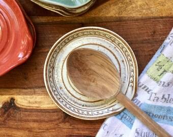 Spoon Rest in Cream - Stoneware Ceramic Pottery
