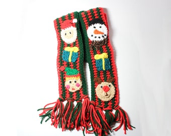 Ugly Christmas scarf, Holiday crochet scarf, Ugly Christmas sweater, Holiday unique scarf