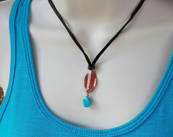 Copper Feather Necklace - Leather Necklace - Turquoise - Southwestern Jewelry - Rustic Cowgirl Jewelry - Boho