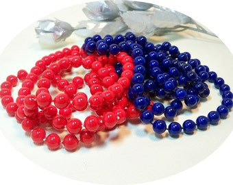 Vintage Beads, Red and Blue Beads, Blue Beads, Red Beads, Long Beads, 4th of July Beads, Long Red Beads, Long Blue Beads, Patriotic, Retro