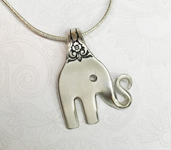 Baby Elephant Fork Necklace, Cocktail Fork Pendant, Silverware Jewelry