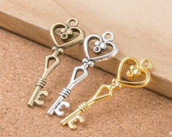 10 Heart Key Charms 2 Sided Silver Bronze Gold Perfect For Pendants Bracelet Earrings Zipper Pulls Bookmarks Key Chains Making