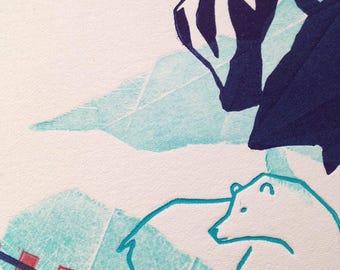 Blue bear - linocut