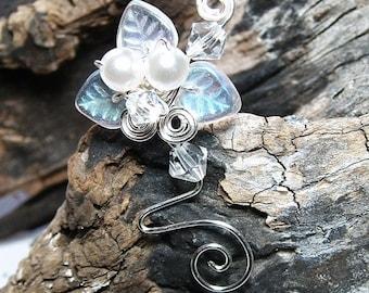 Ear Cuff Silver White Woodland, Bridal Ear Cuff Climber, Fairytale Wedding Jewelry, Fairy Wedding Ear Cuff