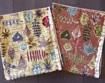 Vintage Mid-Century Modern Abstract Leaf Pattern Barkcloth Samples Atomic Eames Era With Gold Metallic Accents Mad Men