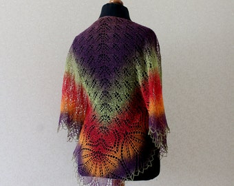 Handknitted lace shawl - multicolor shawl