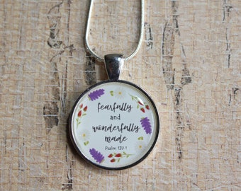 Pendant Necklace Fearfully and Wonderfully Made. Psalm 139:14