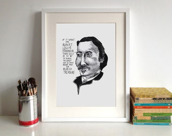 Robert Louis Stevenson poster print Great British Writer Literary Print