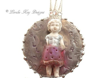 Silly Girl Frozen Charlotte Doll Necklace Silver Soldered Whimsical Charlotte Doll Pendant Lorelie Kay Original