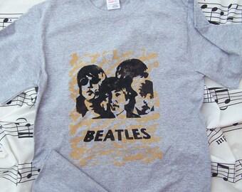 Beatles T Shirt Hand Stenciled
