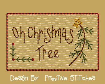 MACHINE EMBROIDERY-Oh Christmas Tree-4x4-Instant Download