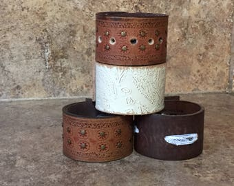 Up-cycled Leather Cuffs