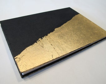 Large Art Deco Black and Gold Leaf Modern Wedding Photo Booth Guest Book Instax Photo Album