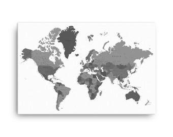 Grey world map etsy custom pushpin world map office world map decor canvas world map push pin gumiabroncs Gallery