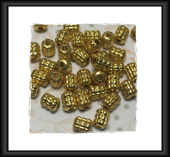 Double Corrugated Barrel Bright Gold Finish Beads 5 x 4 mm - 21 beads