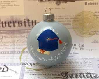 Custom Graduation Christmas Ornament MADE TO ORDER Hand Painted College Graduation High School Graduation Gift School Colors Glass Bauble