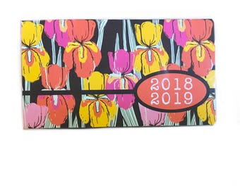 2018 - 2019  mini Planner - Wild Irises - pocket planner - two year calendar - chic 2 year monthly planner new year's organization retro