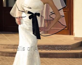 """NWT 2T Fingertip Bridal Wedding Veil 3/8"""" Black Satin Trim VE226 white ivory NEW"""