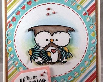 Blooming Fantastic Owl Blank Greeting Card