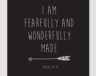 I am Fearfully and Wonderfully Made, Psalm 139:14 || Children's Art, Nursery Art, Art Print