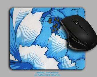 Mouse Pads Blue floral mousepad cloth top MP-070