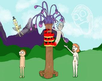 Orickinal Sin - Cartoon Digital Drawing Adam and Eve | Rick and Morty