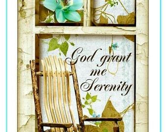 God Grant Me Serenity Inspirational Tag Set Digital Primitive INSTANT DOWNLOAD