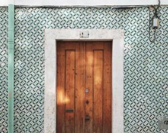 """Lisbon Portugal print, wooden door, travel photograph, mint green wall art, tiles architecture minimal wall art  """"Lisbon 162A"""""""