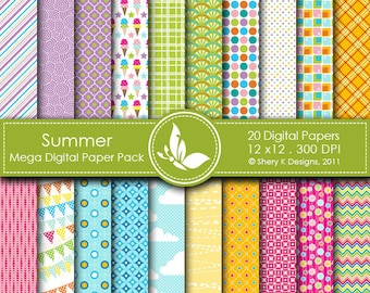 Summer Mega Paper Pack - 20 Printable Digital scrapbooking papers - 12 x12 - 300 DPI