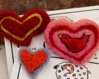 Heart, Needle Felted Heart Pin 3 choices